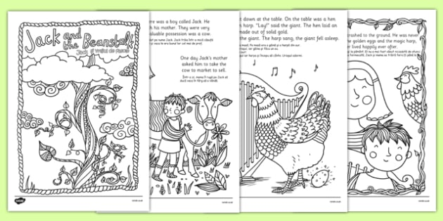 Jack and the Beanstalk Mindfulness Colouring Story Romanian Translation - romanian, jack and the beanstalk, mindfulness colouring story, mindfulness, colouring, story, colouring story, colour