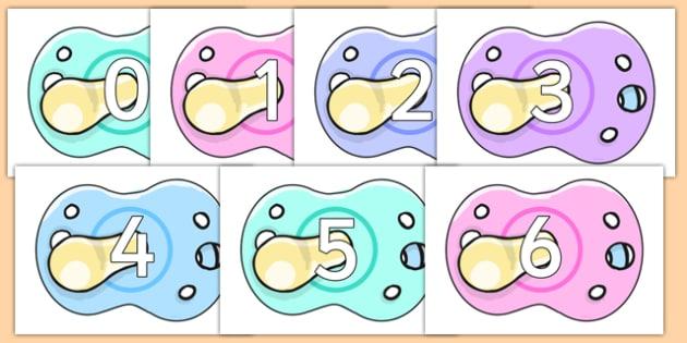 Numbers 0-20 on Baby Dummies - numbers, 0-20, baby dummies, baby, dummies, dummy