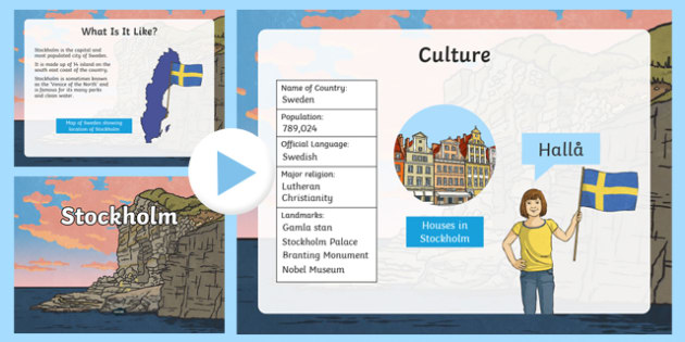 Stockholm Information PowerPoint - stockholm, stockholm powerpoint, swedish capital, capital of sweden, capital cities, information about stockholm, sweden