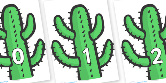 Numbers 0-100 on Cactus - 0-100, foundation stage numeracy, Number recognition, Number flashcards, counting, number frieze, Display numbers, number posters