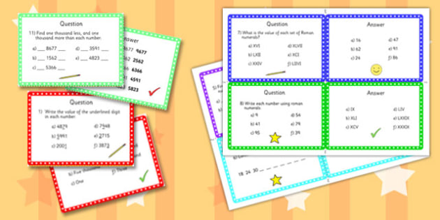 Year 4 Number and Place Value Challenge Cards - challenge, cards