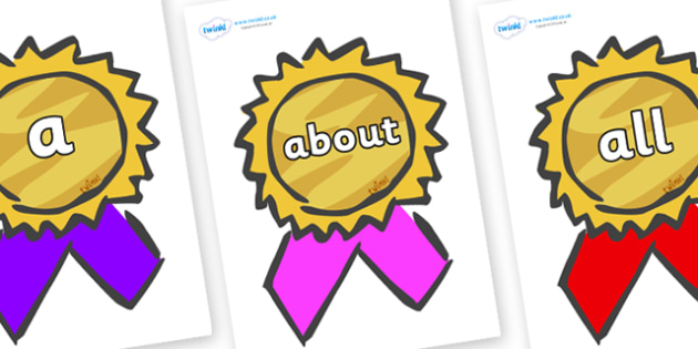 100 High Frequency Words on Award Rosettes - High frequency words, hfw, DfES Letters and Sounds, Letters and Sounds, display words
