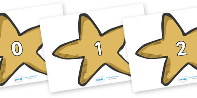 Numbers 0-50 on Starfish - 0-50, foundation stage numeracy, Number recognition, Number flashcards, counting, number frieze, Display numbers, number posters