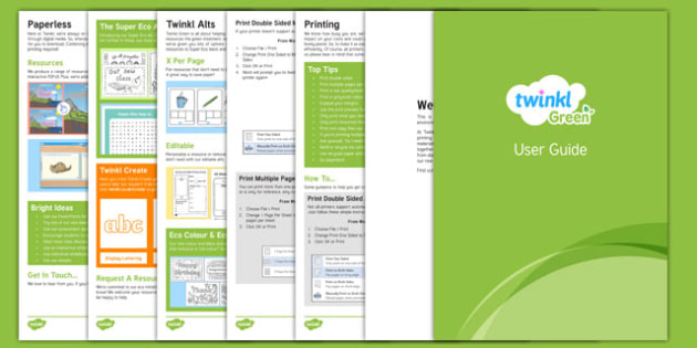 Twinkl Green User Guide - ink saving, eco, super eco, Twinkl Green, guide, twinkl, help, tips
