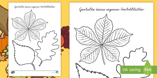 Gestalte Deine Eigenen Herbstblätter Vorlage Selbstgestaltung