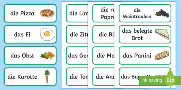 Nahrungsmittel Wortschatz: Wort und Bildkarten - Essen