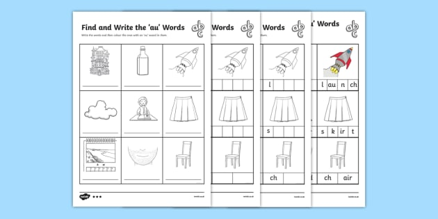 Find And Write The Au Words Differentiated Activity Sheets