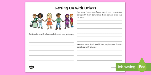 Getting on with Others Writing Template - getting on with others, getting along, reflection, writing template, S.P.H.E.
