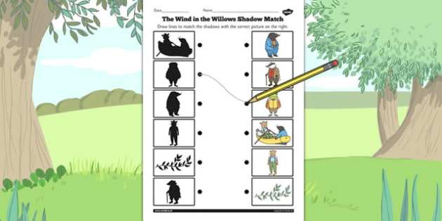 The Wind in the Willows Shadow Matching Worksheet - shadow, match