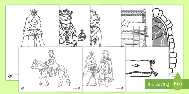 The Princess And The Pea Colouring Sheets The Princess And The Pea