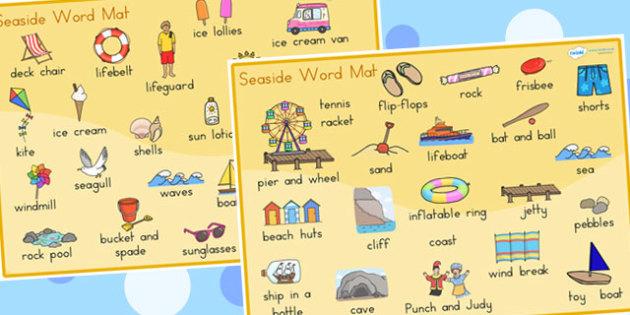 Seaside Word Mats - seaside, sea side, word mat, keywords, mat