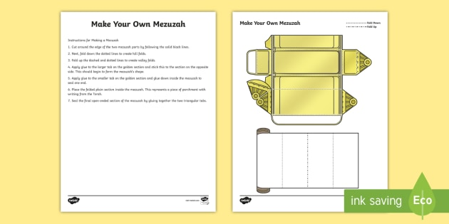 photo about Mezuzah Scroll Printable titled Manufacturing Your Individual Mezuzah Worksheet / Worksheet - RE, Mezuzah