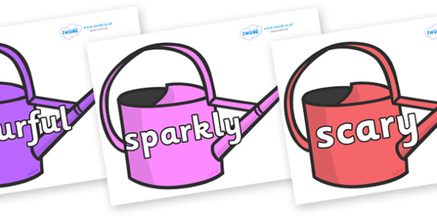 Wow Words on Watering Cans - Wow words, adjectives, VCOP, describing, Wow, display, poster, wow display, tasty, scary, ugly, beautiful, colourful sharp, bouncy