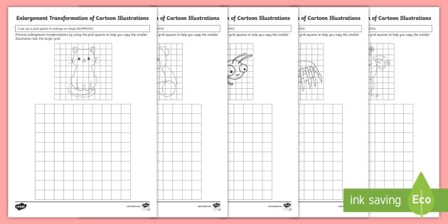 enlargement transformation of cartoon illustrations worksheet. Black Bedroom Furniture Sets. Home Design Ideas