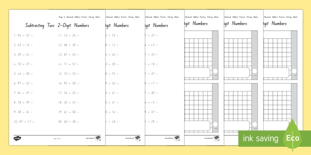 Stage 6 Subtraction Practice Worksheet Activity Sheets Stage