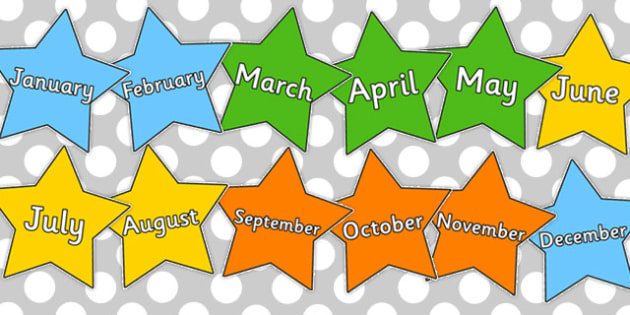 Multicoloured Stars Months of the Year - stars, years, pack