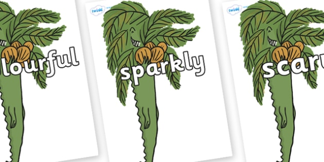Wow Words on Trick One to Support Teaching on The Enormous Crocodile - Wow words, adjectives, VCOP, describing, Wow, display, poster, wow display, tasty, scary, ugly, beautiful, colourful sharp, bouncy