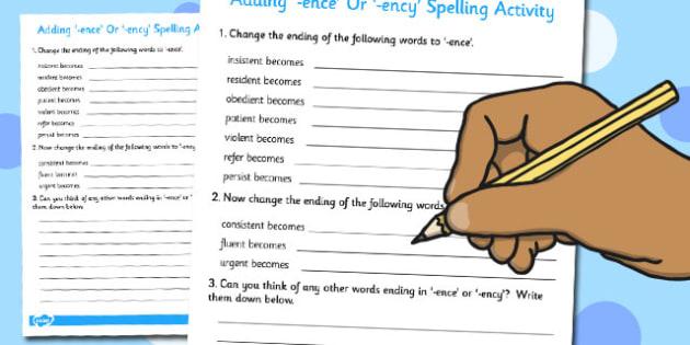 Adding -ence or -ency Spelling Activity - add, ence, ency, spell