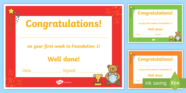 First Week Award Certificates - First week, award, scroll