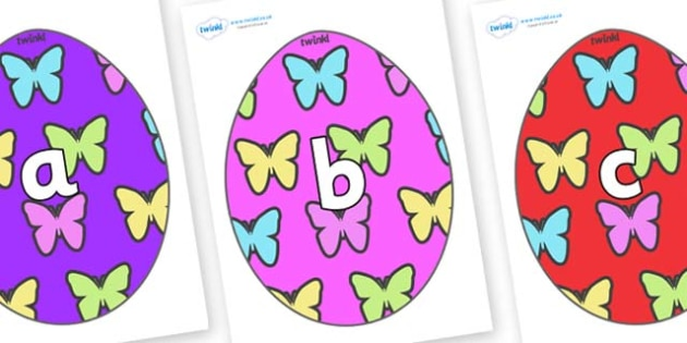 Phase 2 Phonemes on Easter Eggs (Butterflies) - Phonemes, phoneme, Phase 2, Phase two, Foundation, Literacy, Letters and Sounds, DfES, display