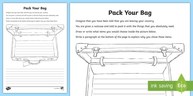 international migrants day bag packing worksheet activity. Black Bedroom Furniture Sets. Home Design Ideas