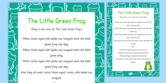 The Little Green Frog Song - frog life cycle, little green frog, song, sing