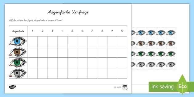 Augenfarben Umfrage Arbeitsblatt - Augen, Auge, Umfragen