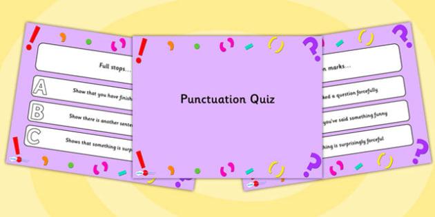 Punctuation PowerPoint Quiz - punctuation, powerpoint, quiz