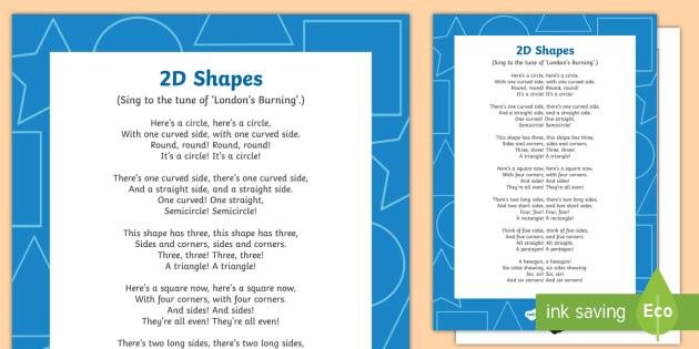 2D Shapes Song - shape, measure, pattern, EYFS, 2D, circle