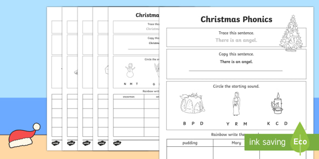 christmas phonics worksheet activity sheet. Black Bedroom Furniture Sets. Home Design Ideas