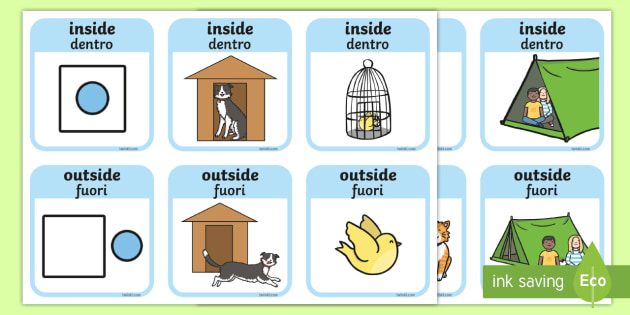 Outside And Inside Locational Prepositions Word Cards English Italian
