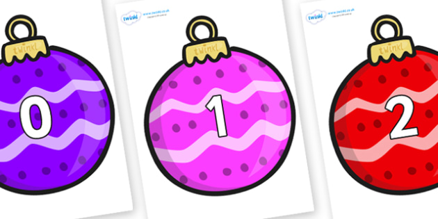 Numbers 0-50 on Patterned Baubles (Multicolour) - 0-50, foundation stage numeracy, Number recognition, Number flashcards, counting, number frieze, Display numbers, number posters