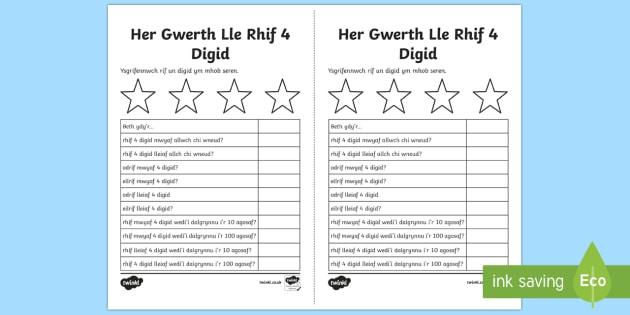 Gwerth Lle 4 digid Taflenni Gweithgaredd - gwerth lle, taflenni, 4 digid, rhif, rhifau, Welsh