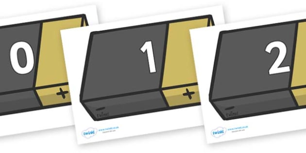 Numbers 0-31 on Battery - 0-31, foundation stage numeracy, Number recognition, Number flashcards, counting, number frieze, Display numbers, number posters