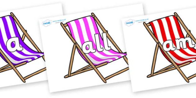 Foundation Stage 2 Keywords on Deck Chairs - FS2, CLL, keywords, Communication language and literacy,  Display, Key words, high frequency words, foundation stage literacy, DfES Letters and Sounds, Letters and Sounds, spelling