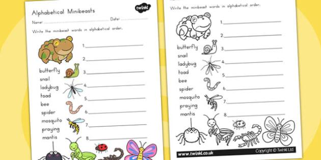 Minibeasts Cute Alphabet Ordering Worksheet - a-z, order, sort