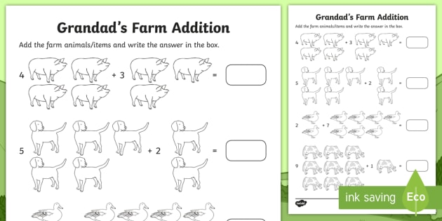 grandad 39 s farm addition worksheet activity sheet roi on the farm farm. Black Bedroom Furniture Sets. Home Design Ideas
