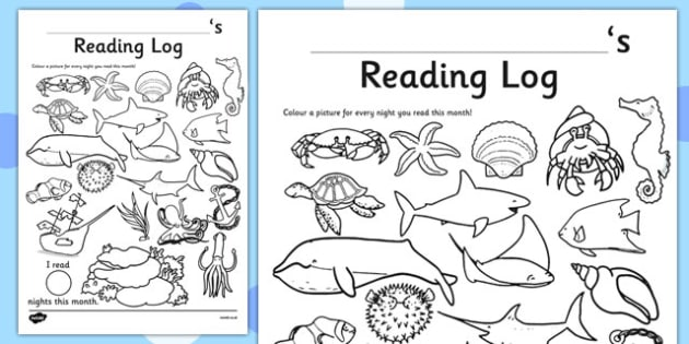 Under The Sea Themed Colour In Reading Log - monitor, diary, record, home learning, independent, early years, ks1, key stage 1, reward, award, english, books, library