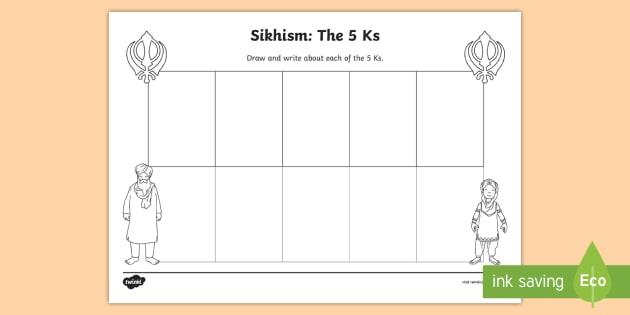 The Five Ks of Sikhism Worksheet - Primary Resources