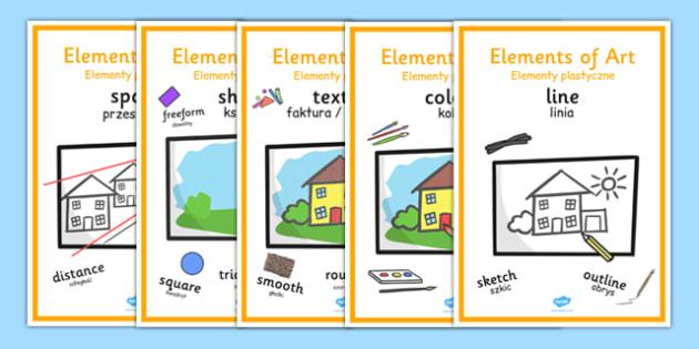 Elements of Art Display Posters Polish Translation - Polish, Poland, EAL, art, art and design, design, line, colour, texture, shape, form, space, value, tone, size, vocabulary