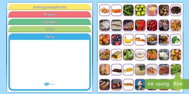 Photo Food Group Sorting Activity - photo, food group, sorting, activity, sort, food, group