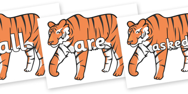 Tricky Words on Chinese New Year Tiger - Tricky words, DfES Letters and Sounds, Letters and sounds, display, words