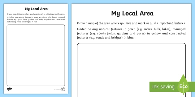 Au G 378 My Local Area Map Drawing Activity Sheet on Natural Resources Worksheet