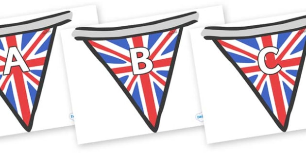 A-Z Alphabet on Bunting (British) - A-Z, A4, display, Alphabet frieze, Display letters, Letter posters, A-Z letters, Alphabet flashcards