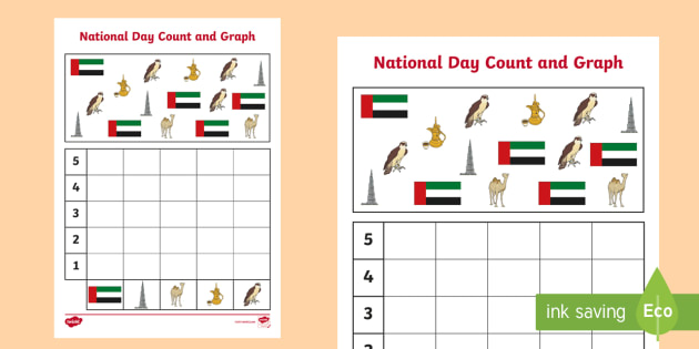 national day count and graph worksheet    activity sheet