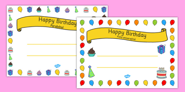 General Happy Birthday Certificates Portuguese Translation - portuguese, general, happy birthday, certificates