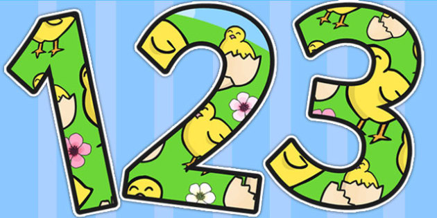 Chick Themed A4 Display Numbers - easter, spring, number, display
