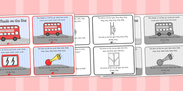 The Wheels on the Bus Sequencing (4 per A4) - The Wheels on the Bus, nursery rhyme, sequencing, rhyme, rhyming, nursery rhyme story, nursery rhymes, transport, bus, Wheels on the Bus resources, wheels onthe bus