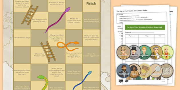The Sign of Four Snakes and Ladders With Questions - The Sign of Four, Literary Heritage Prose, Game, Snakes and Ladders, Revision, GCSE, AQA, Reading