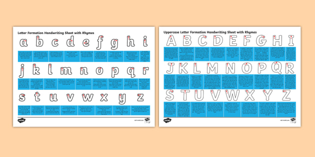 letter formation handwriting sheet with rhymes letter formation handwriting hand write